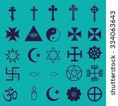 25 religious icons set | Shutterstock .eps vector #334063643