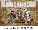 three little boys racers... | Shutterstock . vector #334065233
