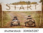 two boy racer at the start on... | Shutterstock . vector #334065287