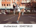 beautiful dancing girl on a... | Shutterstock . vector #334073813