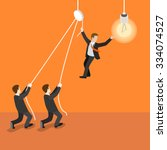 flat 3d isometric leadership... | Shutterstock .eps vector #334074527