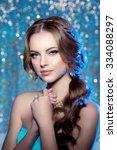 winter woman model gorgeous... | Shutterstock . vector #334088297