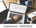 financial report revenue... | Shutterstock . vector #334091063