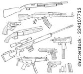 vector sketch set of firearm... | Shutterstock .eps vector #334107713