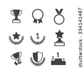 trophy and awards icons set | Shutterstock .eps vector #334141487