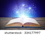 abstract blue magic book on... | Shutterstock . vector #334177997