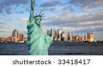 the statue of liberty and lower ... | Shutterstock . vector #33418417