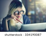woman laptop working planning... | Shutterstock . vector #334190087