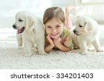 portrait of happy little girl... | Shutterstock . vector #334201403
