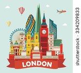 london detailed skyline. vector ... | Shutterstock .eps vector #334209833