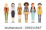 six different female characters.... | Shutterstock .eps vector #334211567