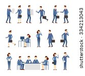 business people in an office... | Shutterstock .eps vector #334213043