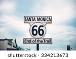 historic route 66 sign at santa ... | Shutterstock . vector #334213673