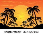 Palm Trees Silhouette On The...