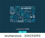 logistic integrated thin line... | Shutterstock .eps vector #334253093