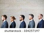 several employees standing in... | Shutterstock . vector #334257197