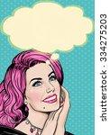 illustration of pop art woman... | Shutterstock . vector #334275203