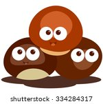 chestnut cute cartoon nut | Shutterstock .eps vector #334284317
