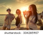 friends funny dance on the... | Shutterstock . vector #334285907