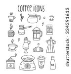 hand drawn doodle coffee icon... | Shutterstock .eps vector #334291613