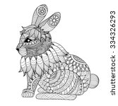 drawing zentangle rabbit for... | Shutterstock .eps vector #334326293
