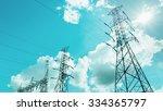 electricity pylon electricity... | Shutterstock . vector #334365797