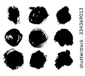 set of 9 hand drawn ink blots.... | Shutterstock .eps vector #334369013