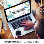 blogging blog internet media... | Shutterstock . vector #334376453