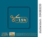 discount coupon with scissors... | Shutterstock .eps vector #334383233