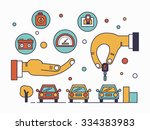 trading cars and rental cars in ... | Shutterstock .eps vector #334383983