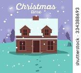 christmas cards  winter house...   Shutterstock .eps vector #334388693