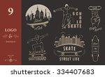 set of skateboarding logo ... | Shutterstock .eps vector #334407683