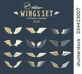 abstract vector wings big set ... | Shutterstock .eps vector #334423007