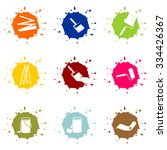 nine color blobs with painter... | Shutterstock .eps vector #334426367