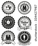 set of tailor shop black round... | Shutterstock .eps vector #334427987
