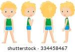 boy standing full face  profile ... | Shutterstock .eps vector #334458467