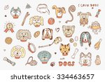dogs vector set. dogs faces... | Shutterstock .eps vector #334463657