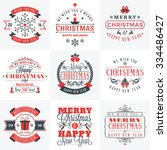 set of merry christmas and... | Shutterstock .eps vector #334486427