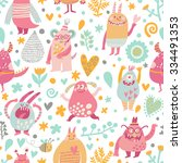 lovely seamless pattern with... | Shutterstock .eps vector #334491353