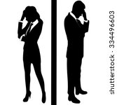 stressed business woman and... | Shutterstock .eps vector #334496603