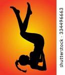 sporty girl doing shoulder... | Shutterstock .eps vector #334496663