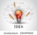 idea concept with light bulb... | Shutterstock . vector #334499603