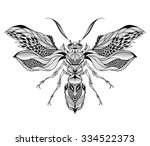 bee   wasp tattoo. psychedelic  ... | Shutterstock .eps vector #334522373