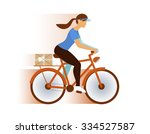 cute postman girl delivery mail ... | Shutterstock .eps vector #334527587