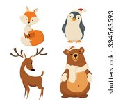 vector christmas characters.... | Shutterstock .eps vector #334563593