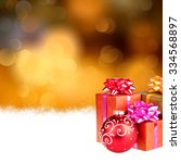 christmas background with gifts ... | Shutterstock . vector #334568897