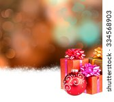 christmas background with gifts ... | Shutterstock . vector #334568903