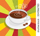 poster with white cup of coffee ... | Shutterstock .eps vector #334586783