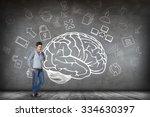 woman stands beside big drawn... | Shutterstock . vector #334630397