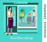 barbershop facade with... | Shutterstock .eps vector #334640963